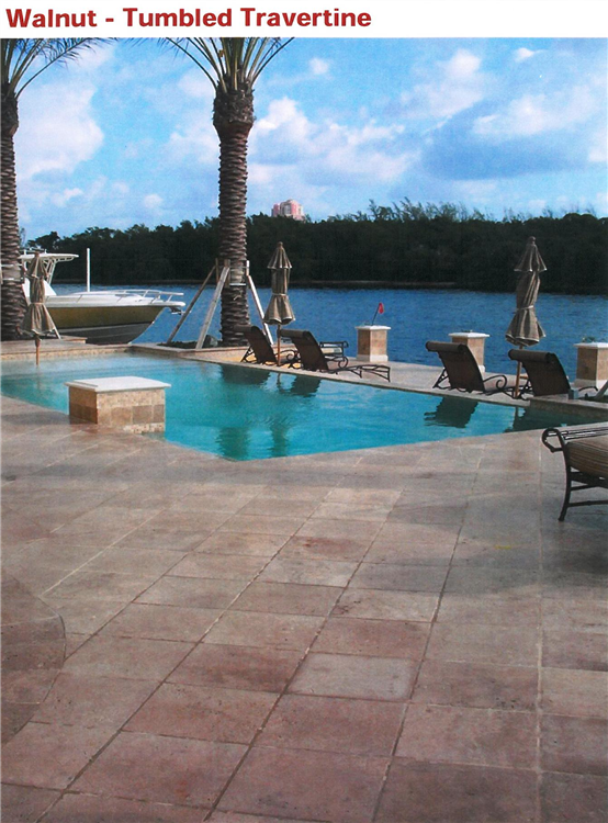 Tumbled Travertine Walnut Pool Deck