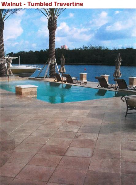 Tumbled Travertine Walnut Pool Deck