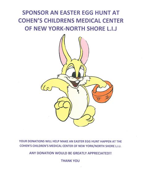 Our invitation to our Easter Egg Hunt at Cohen Children's Medical center