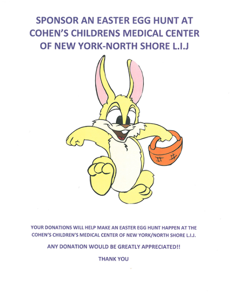 Our invitation to our Easter Egg Hunt at Cohen Children's Medical center