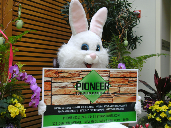 The Easter Bunny takes a second to thank Pioneer Building Materials for making a difference in a child's life.