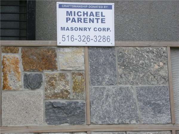 Mike Parente Masonry Corp donated their time and craftsmanship to make our display great!