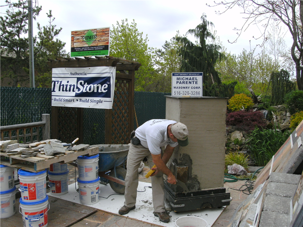 Mike showing the proper way to install Authentic ThinStone.
