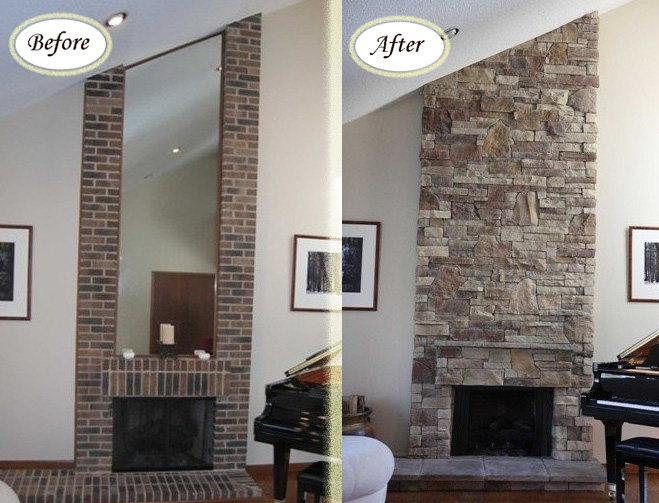 Inspiring Before And After Stone Veneer Projects